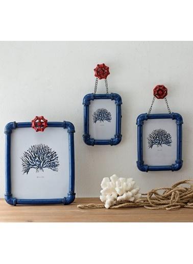 Warm Design Musluk Figürlü Fotograf Çerçevesi Mavi